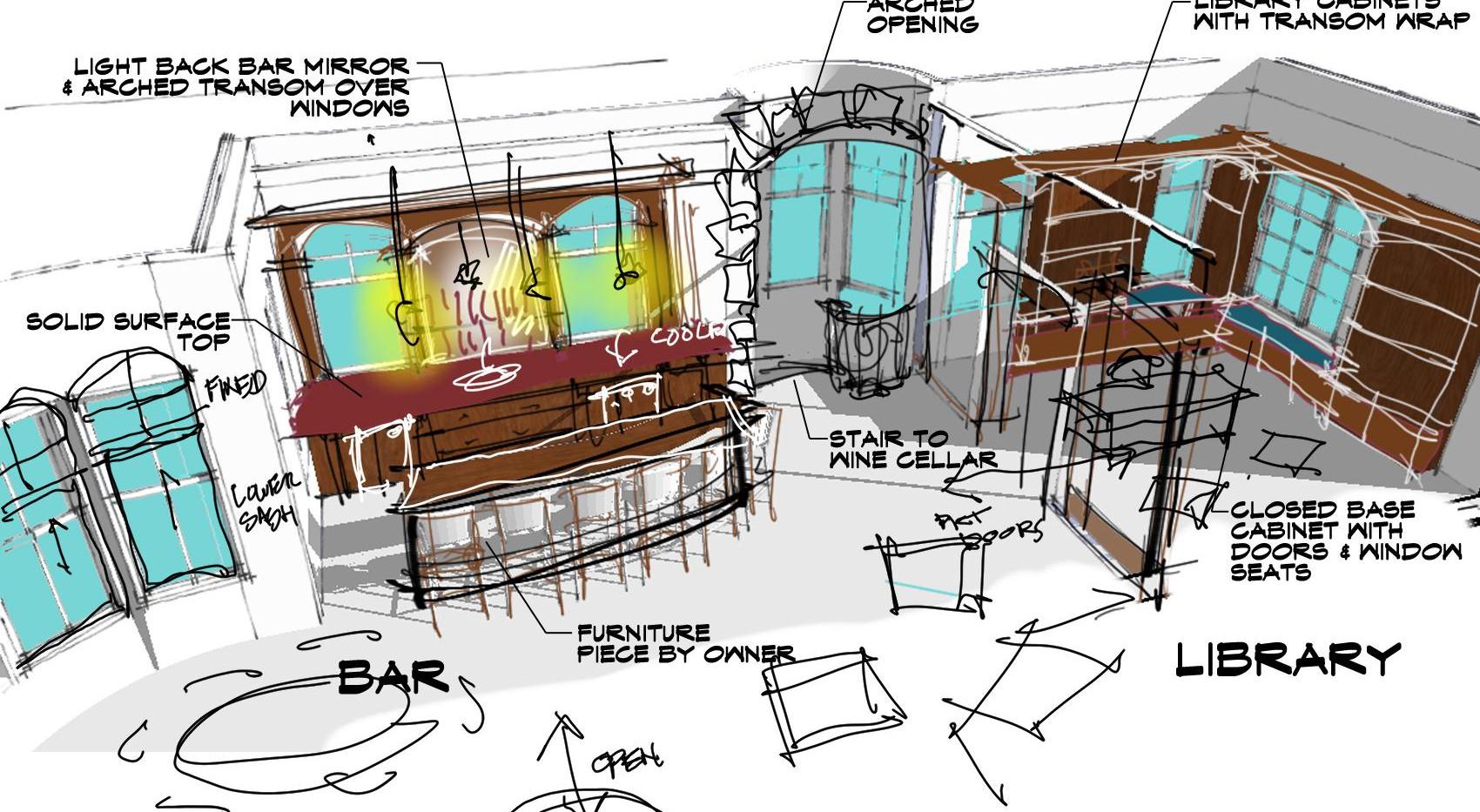 Bar & Library Sketch Italianate Skaneatleles _Ramsgard