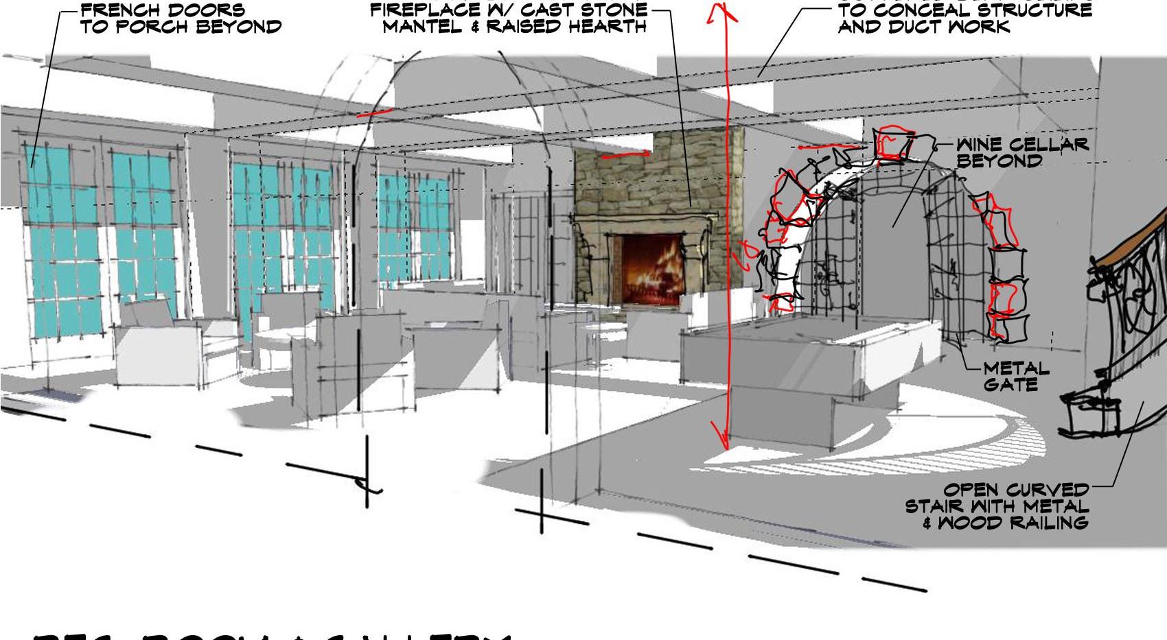 Family Room Sketch Italianate Skaneatleles _Ramsgard