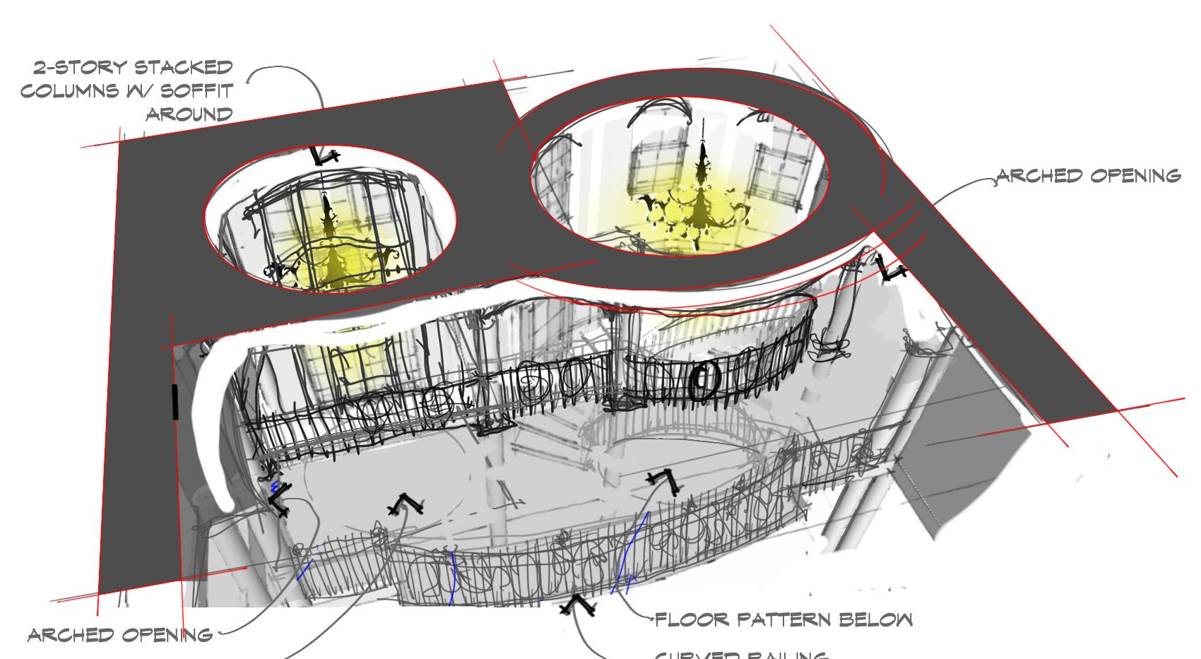 Foyer Design Sketch Italianate Skaneatleles _Ramsgard