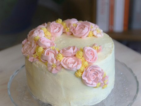 Carrot Cake with Buttercream Flowers