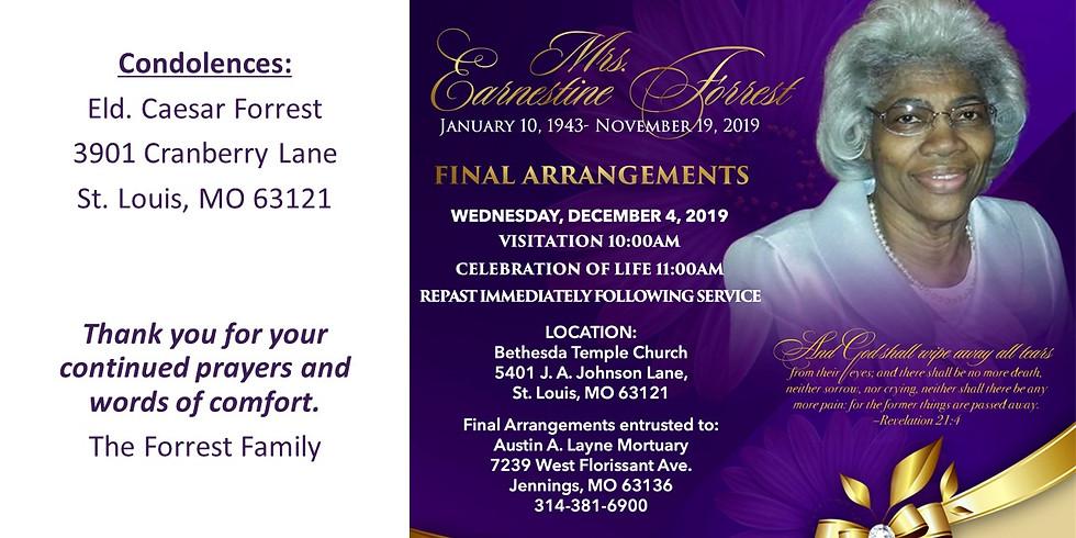 Sister Earnestine Forrest Funeral Services