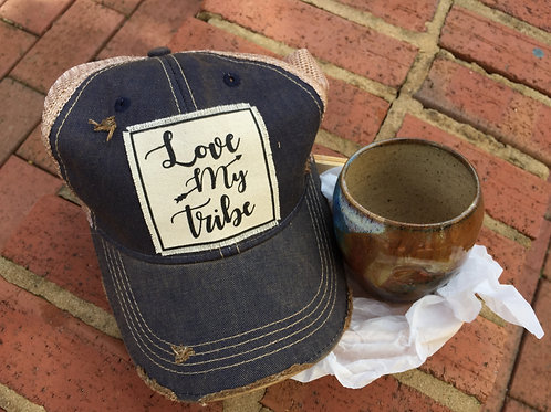 Love my Tribe vintage hat and locally made wine cup