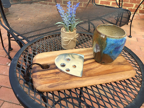 Cheese Board and cutter with locally made wine cup