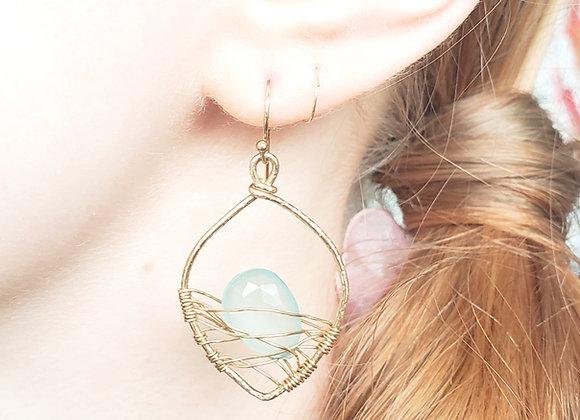 Calcedony Leaf Web Earrings