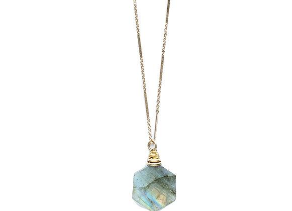 Hexagonal Labradorite Necklace