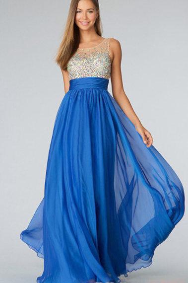Blå ballkjole