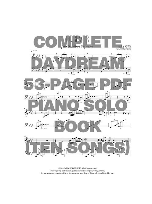 Emily Rowe Daydream Piano Solo Book (FULL BOOK DOWNLOAD 53 PAGES)
