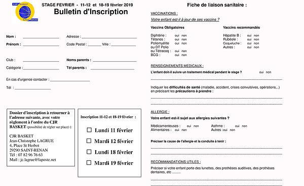 CJR, Fiche d'inscription STAGE fevrier.j
