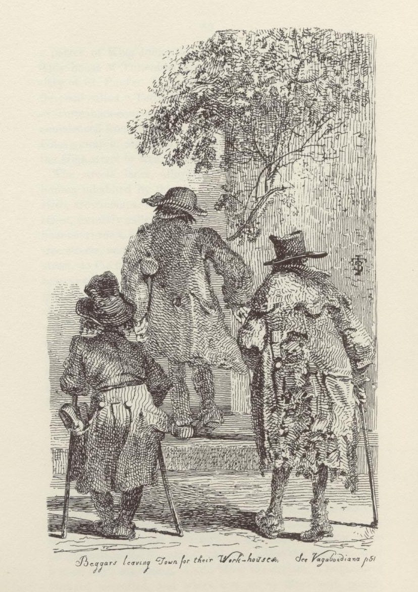 An etching of the backs of three men, in ragged clothes and using crutches and walking sticks.