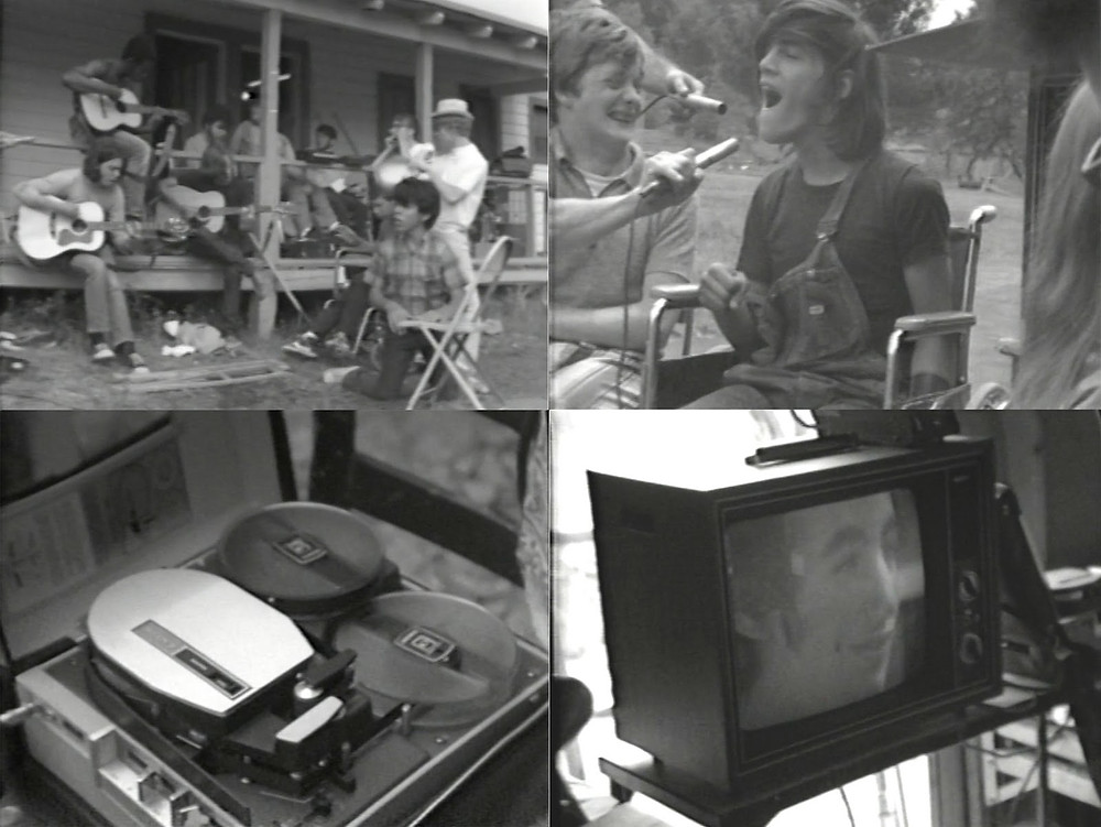 Black and white photographs, clockwise from top left. A group of young people with different mobility aids and guitars sit on an awning outside a cabin. A young man with long hair talks into the two microphones pointed directly in his face as a boy next to him laughs. A TV screen featuring a teenage boy's face, looking relaxed. A box of recording equipment.