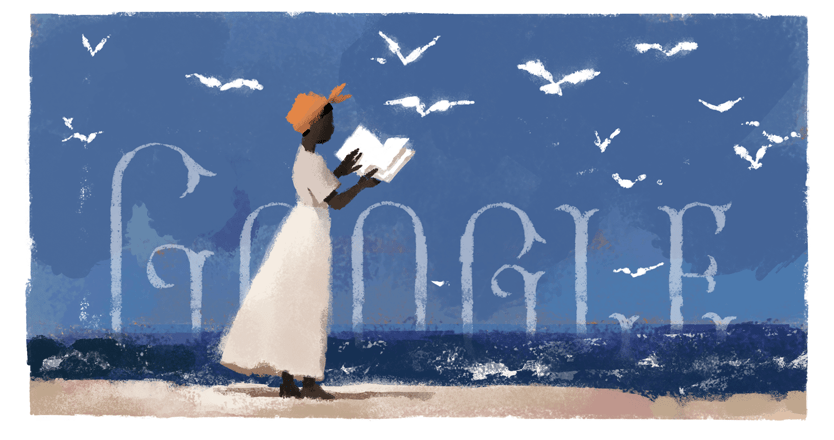 A painting of Mary Prince in a white dress and orange hat reading a book facing out into the sea with lots of seagulls in the sky.