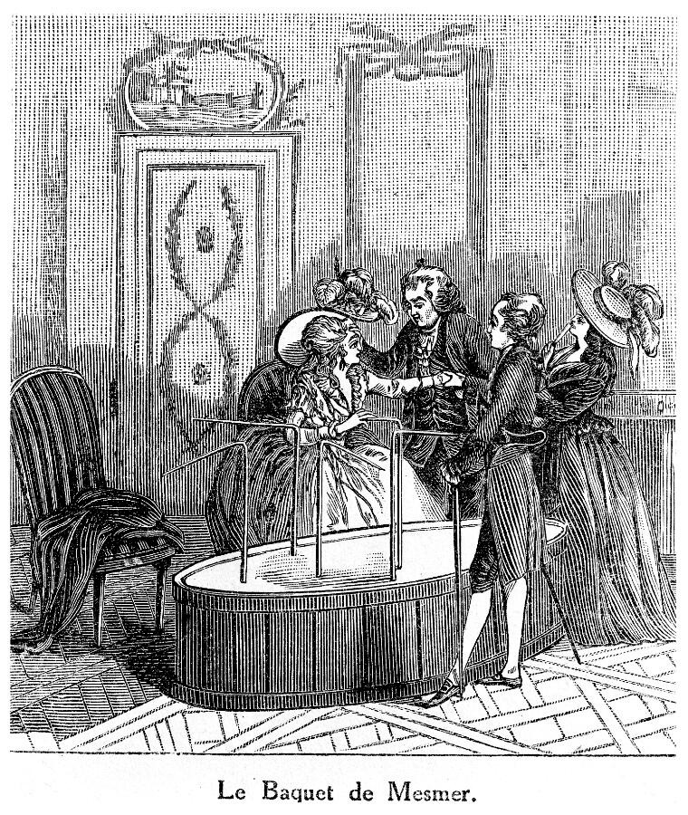 Black and white lithograph shows one fancily dressed women and three men standing around a baquet in a posh room.