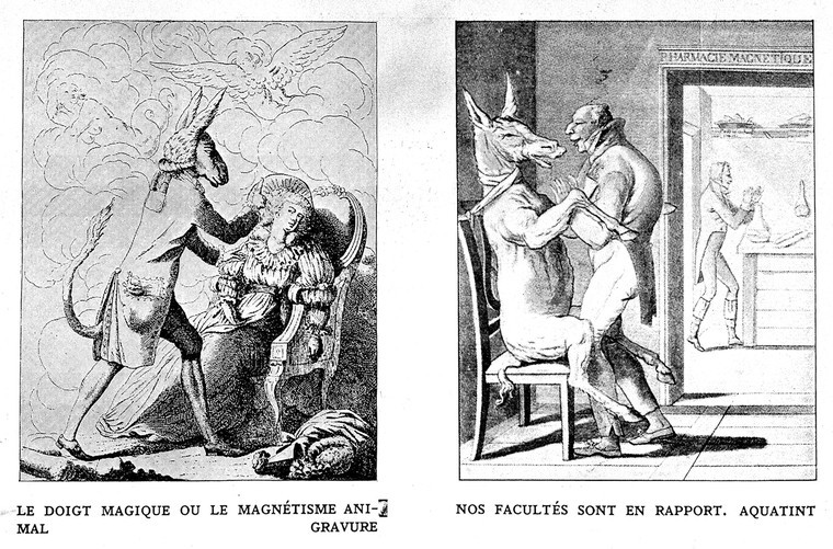 Two black and white lithographs. The first shows a bipedal man with a donkey's head performing mesmerism on a posh woman in a chair. The second shows a donkey strapped to a chair with its legs being placed on the appropriate places on the man standing in front of it
