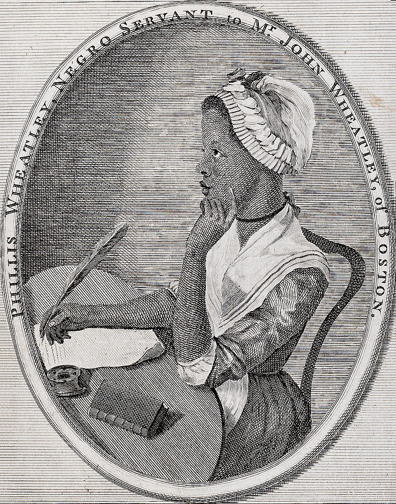 A black and white etching of a young black woman sitting on a table in traditional 18th century dress, holdiing a quill to paper and touching her chin with her other hand