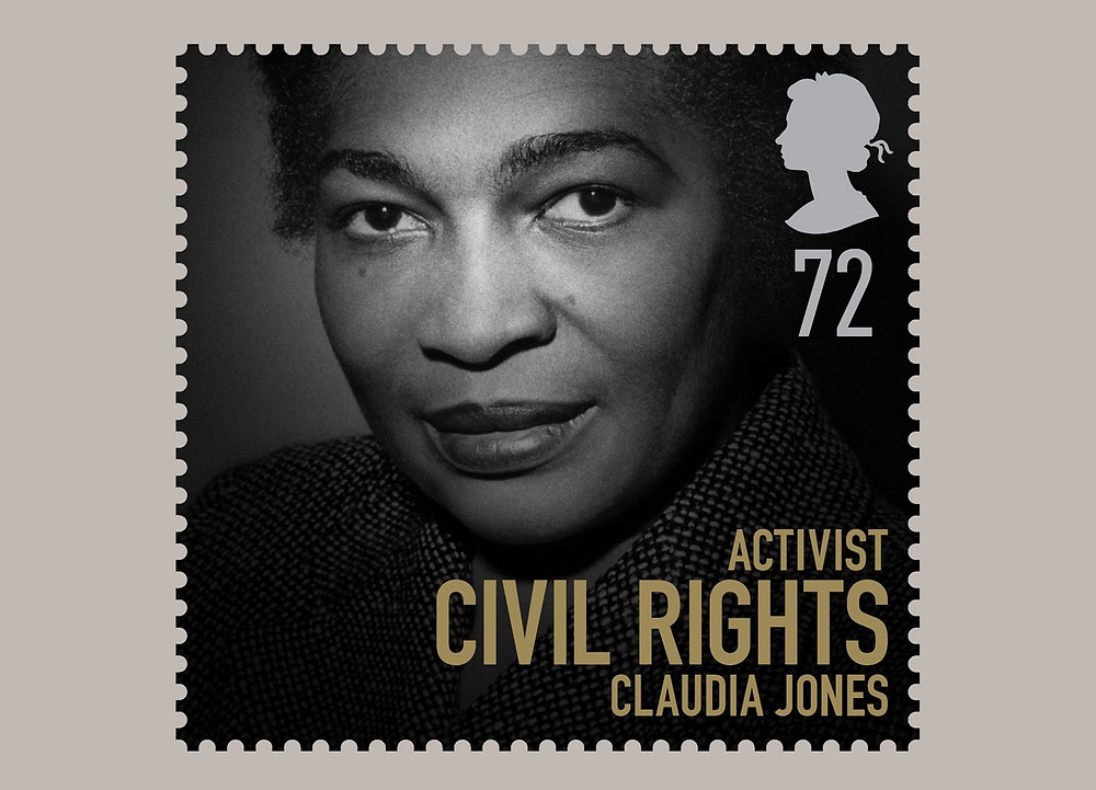 "A black and white photo of Claudia Jones looking at the camera. In the top right corner is a white silhouette of a young Queen Elizabeth II with ""72"" underneath. On the bottom right in gold reads: Activist. Civil Rights. Claudia Jones."