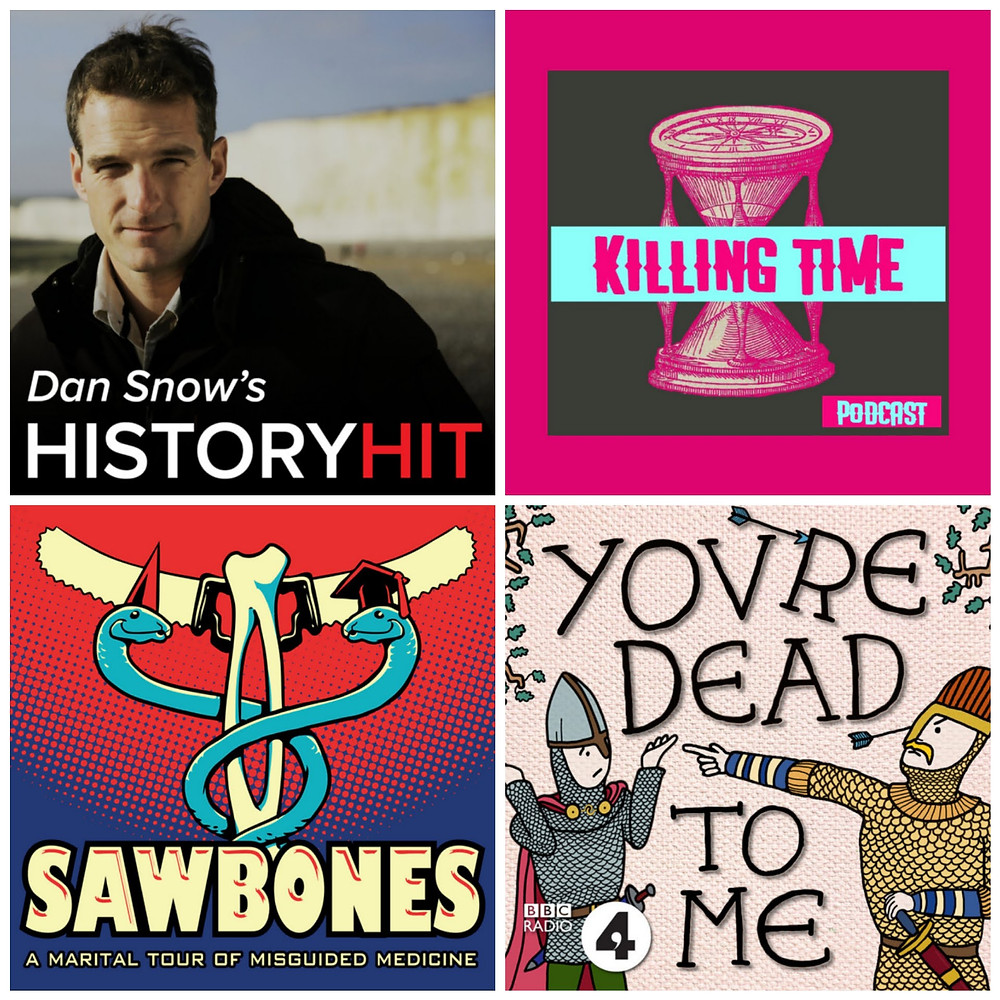 The artwork for each podcast. clockwise from top left: Dan snow looking at camera, a pink drawing of a sand timer, an embroidery style cartoon of two historical men pointing at each other, a logo with two saws, a bone and two snakes.