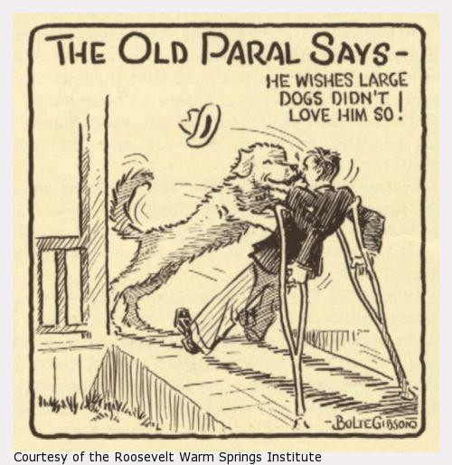 "A man is greeted at the door by a very large dog that nearly knocks him over. Reads: ""The Old Paral says: he wishes large dogs didn't love him so!"""