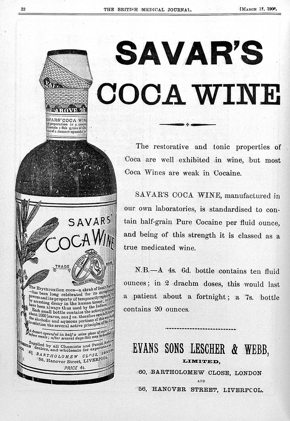 """An advert from 1906, features a picture of a bottle of the wine and text describing its """"restorative and tonic properties"""""""