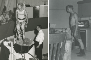 (L) A man is strapped to a chair on a crane and lowered into a small box from the air. (R) A man surrounded by standard houshold furniture leans forward at an approx 45 degree angle