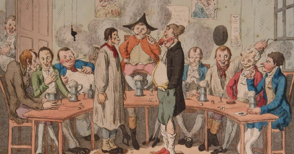 Two men with exaggerated facial features stand on stools facing each other. Behind them is a judge figure in a tricorn hat. Either side, 4 men sit behind tables and talk to each other.
