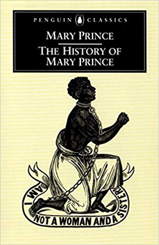 "A Penguin Classic book, featuring a traditional drawing of a slave kneeling, in chains, with a banner around saying ""am I not a woman and a sister?"""