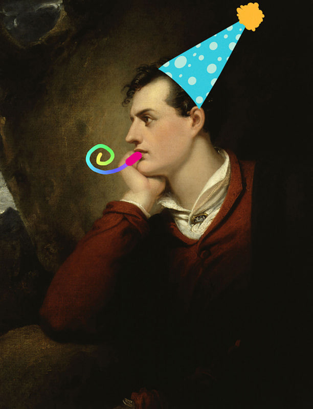 A colour portrait of a caucasian man with brown hair leaning his chin on his hand and facing to the side. There is a 2d sticker of a party hat on his head, and a multicoloured spiral to look like a party blower by his mouth