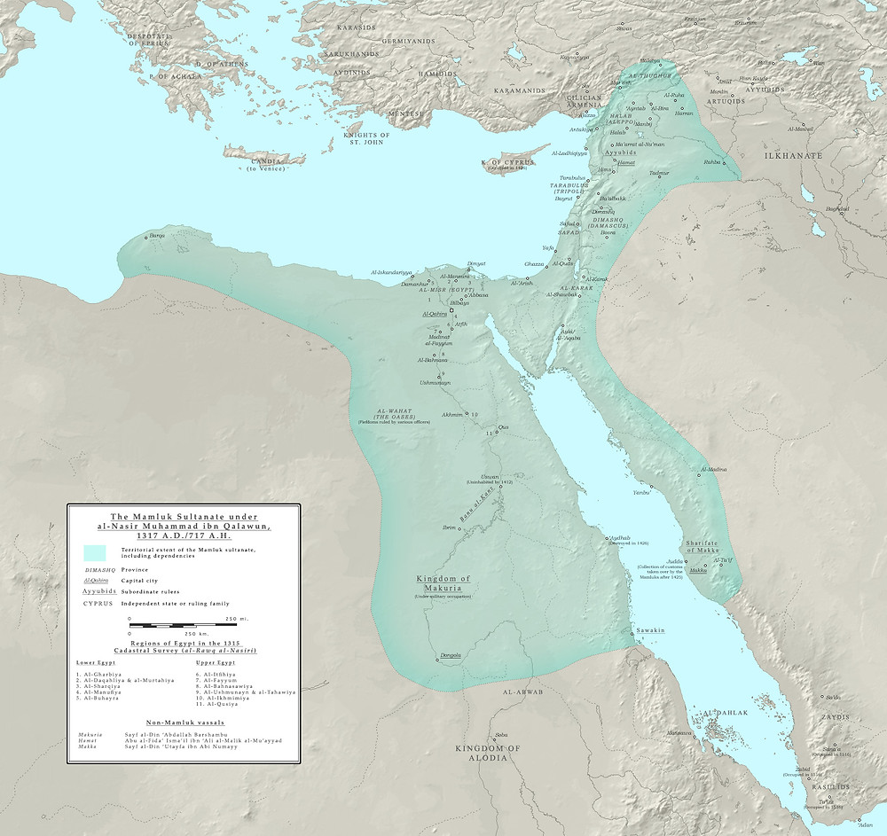 A map with the sultanate highlighted, covering modern Egypt, Syria and parts of Saudi Arabia and stretching towards Turkey