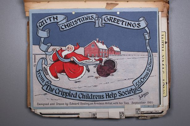 "A cartoon of a snowy field with two houses. Santa is holding a ribbon which is around a turkey's neck, which then stretches around the card reading ""with Christmas greetings from the Crippled Children's Help Society."