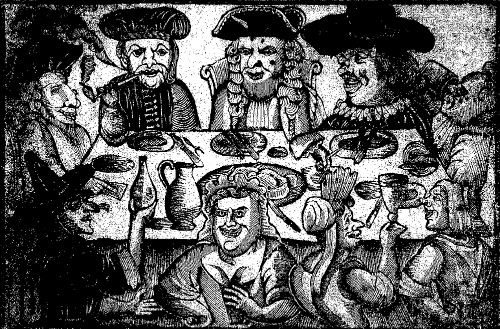 Black and white lithograph of 8 men with varying exaggerated facial features and wearing at best troubling facial expressions. They're sitting around a dinner table with some plates and cutlery
