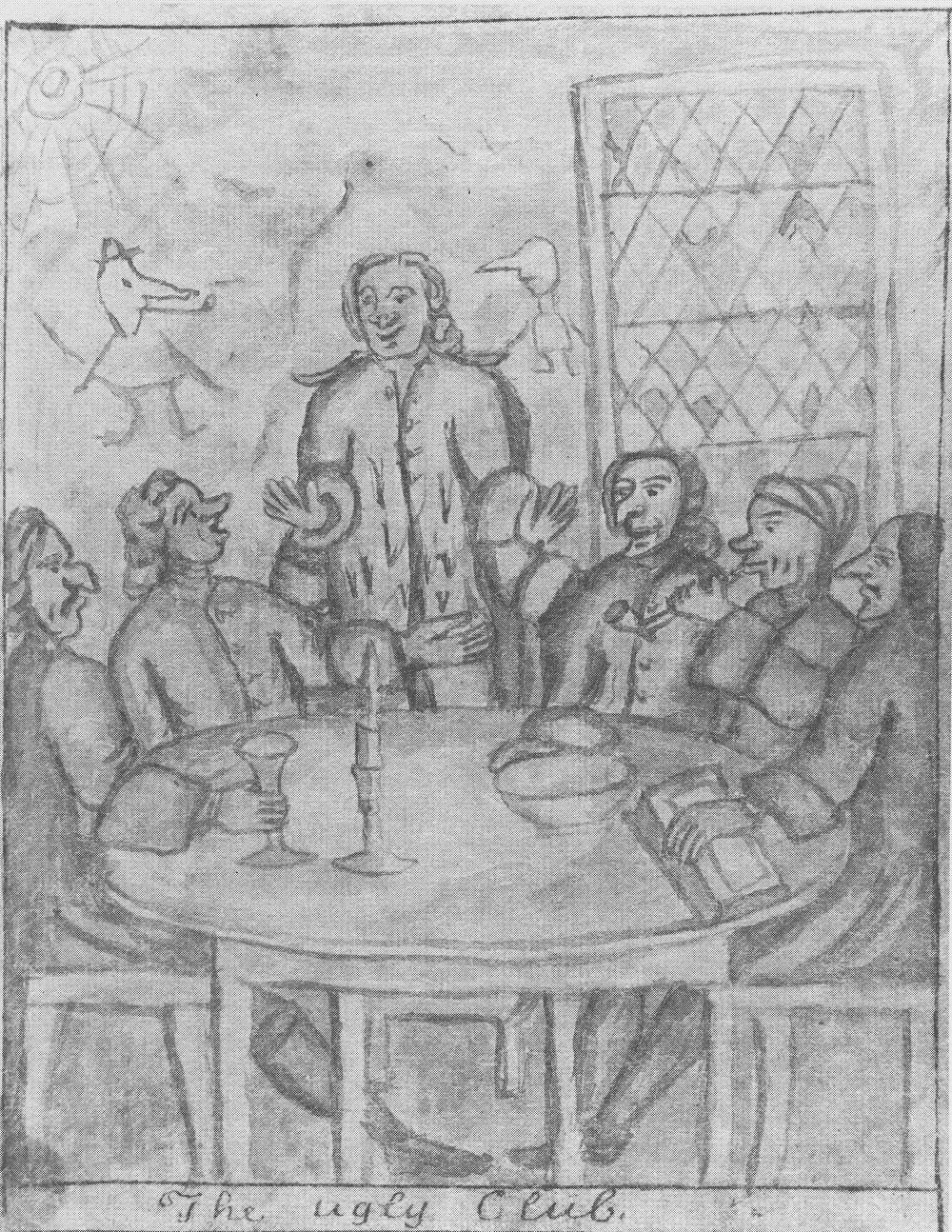 A pencil drawing of 5 men sitting around a table with a candle in the middle. One man is standing up, most have complex noses.