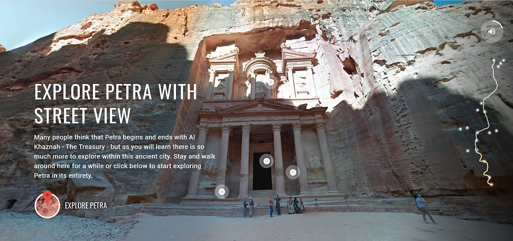 "A picture of the entry to the city of Petra. Writing says ""explore Petra with street view"". There are circles on the picture to click on to navigate, and on the right there is a simple line map of the city"