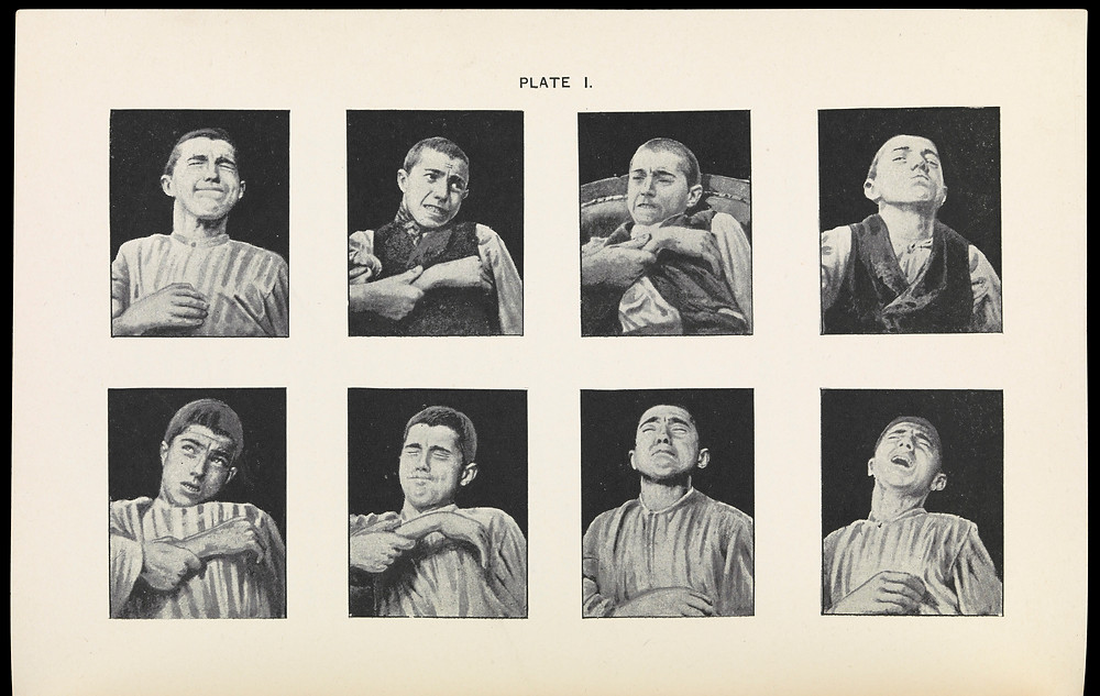 8 black and white pictures showing a man in pain