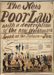 """the new poor law, with a description of the new workhouse. look at the picture- see"". The picture shows a cartoon of imprisonment, forced labour and corporal punishment"