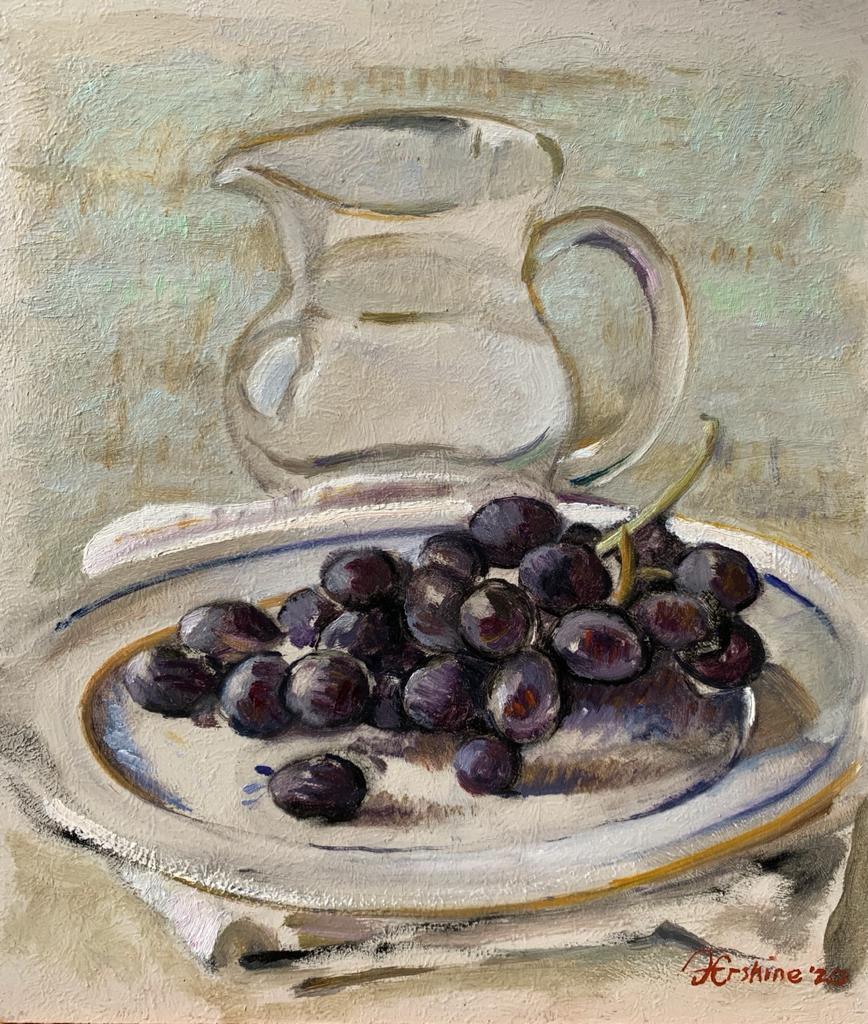 Black Grapes with Jug