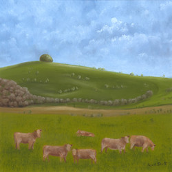 Win Green with Cattle, Dusk