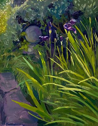 Haloed Irises and Ornamental Stone
