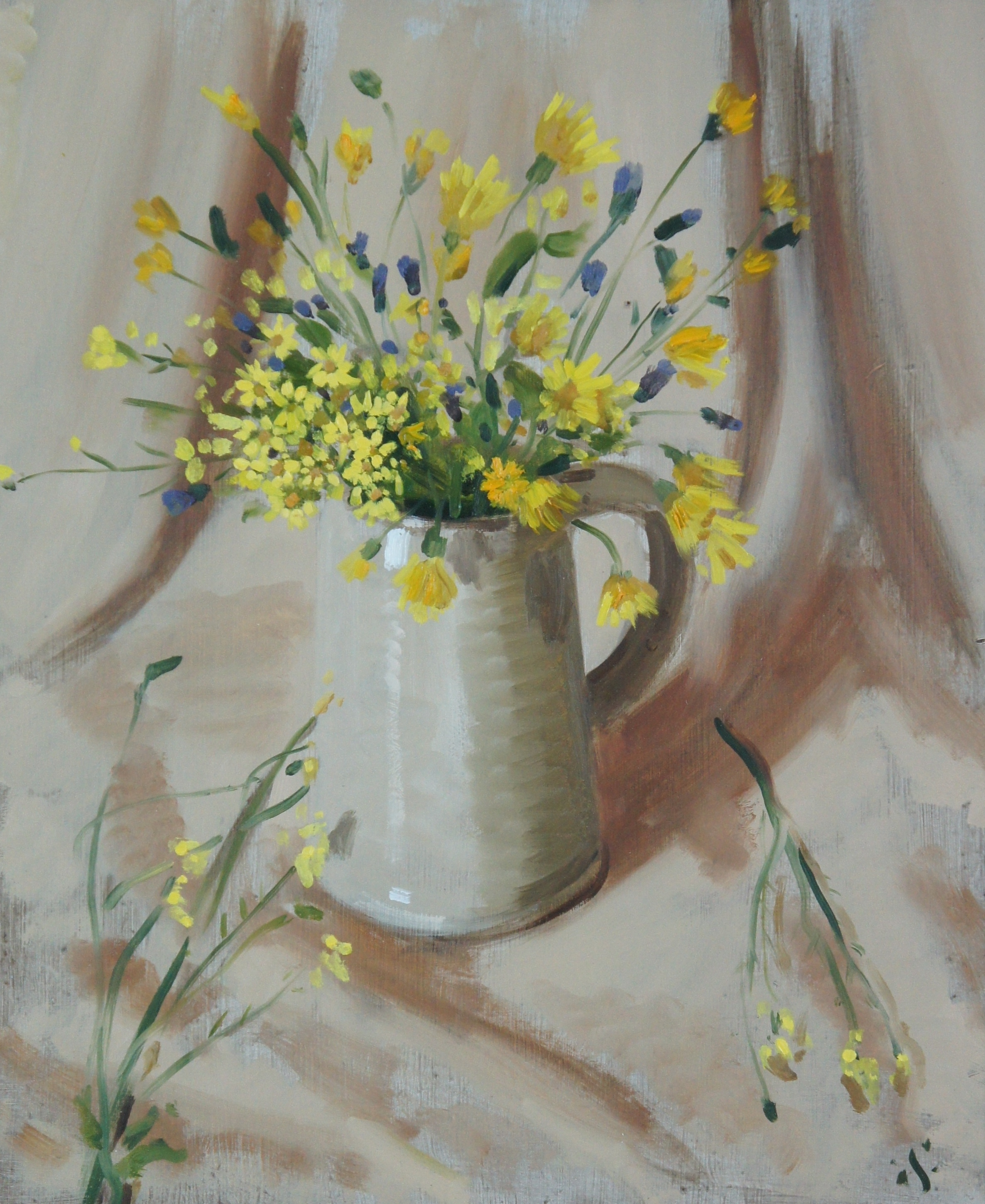 Yellow flowers in a stein