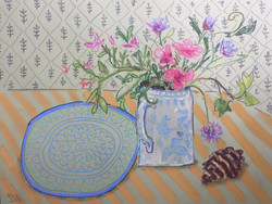 Moroccan Plate and Wild Flowers