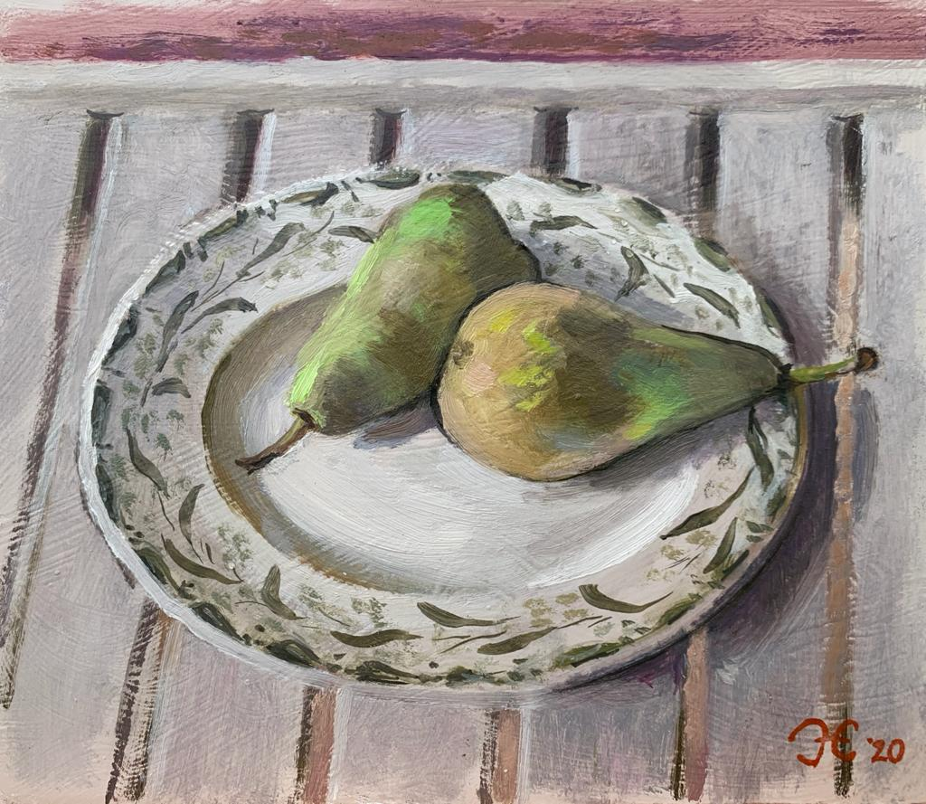 Pears with Vintage Plate