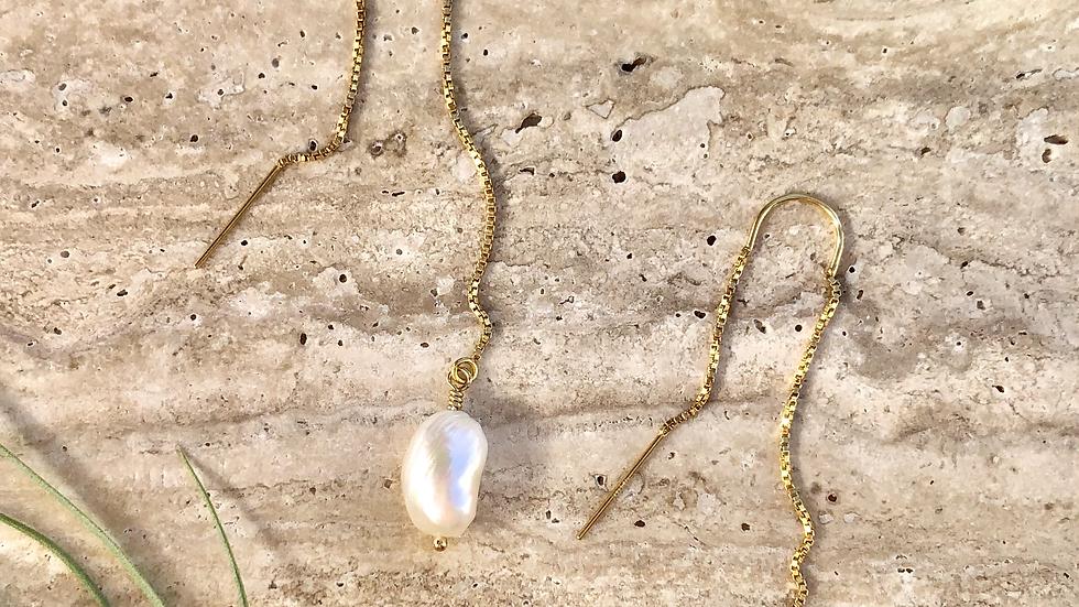 Threaded Baroque Pearl Drop Earrings