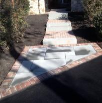 Flagstone and brick walkway
