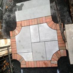 flagstone with brick edge landing