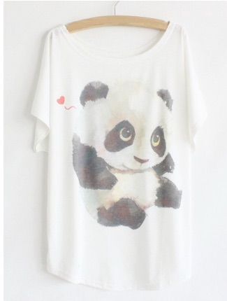 Cartoon_Panda_Print_Loose-Fitting_Color_Block_Batwing_Sleeve_T-Shirt_For_Women__WHITE_ONE_SIZE____Sa