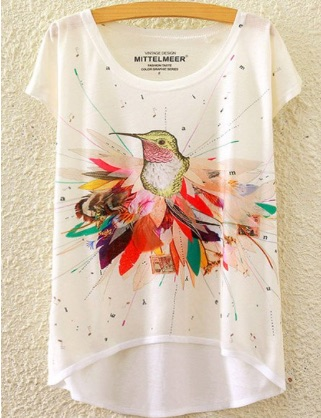 Brief_Bird_Print_Scoop_Neck_High_Low_Short_Sleeve_T-Shirt_For_Women__WHITE_ONE_SIZE_FIT_SIZE_XS_TO_M