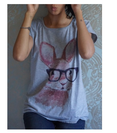 Casual_Scoop_Neck_Rabbit_In_Glasses_Pattern_Short_Sleeves_T-shirt_For_Women__GRAY_ONE_SIZE____Sammyd