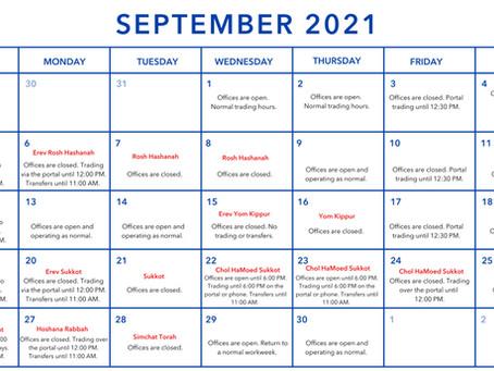 Trading Hours September 2021