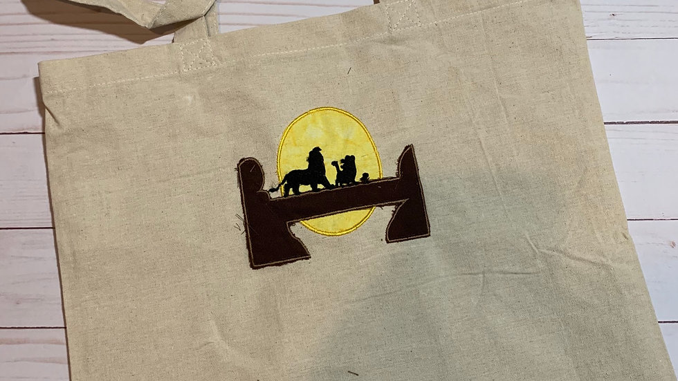 Lion King embroidered market tote