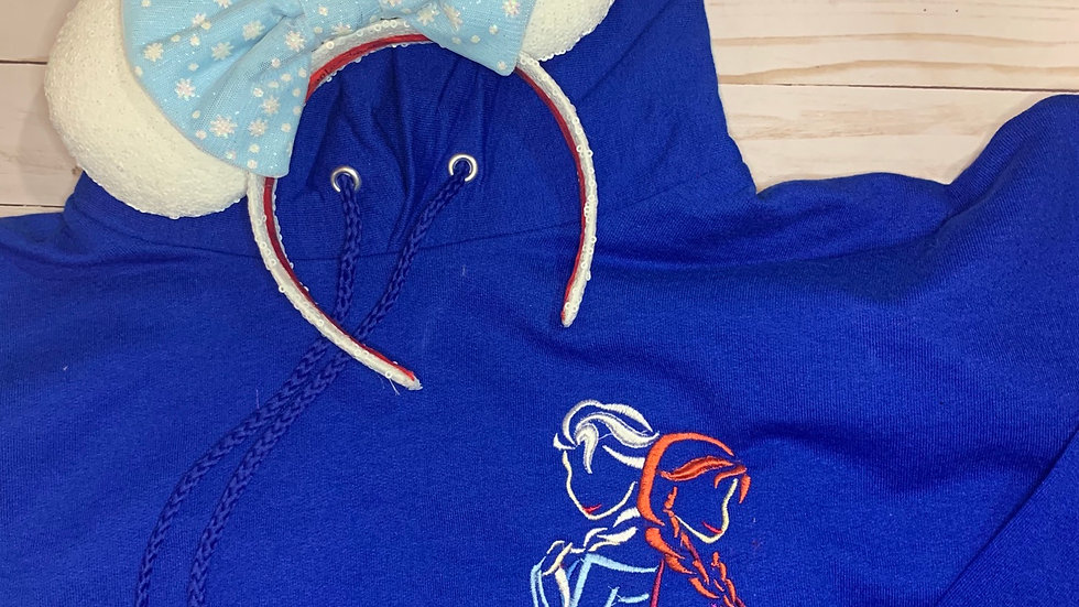 Frozen sisters embroidered hoodie, pullover, 1/4 zip