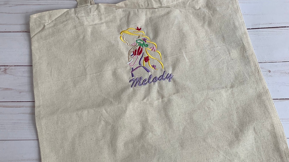 Rapunzel and pascal silhouette embroidered market tote