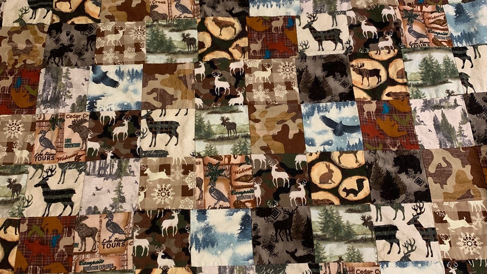 Log Cabin patchwork blanket